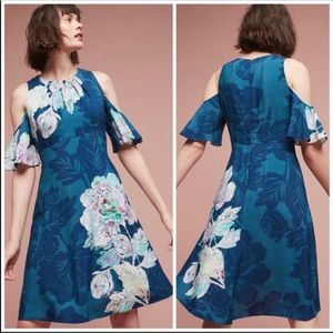 Anthro Maeve Elia Floral Cold Shoulder Dress 2